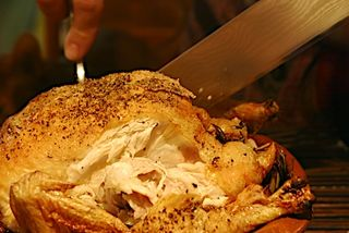 Carving the chicken