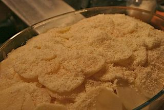 Potato au gratin ready for the oven