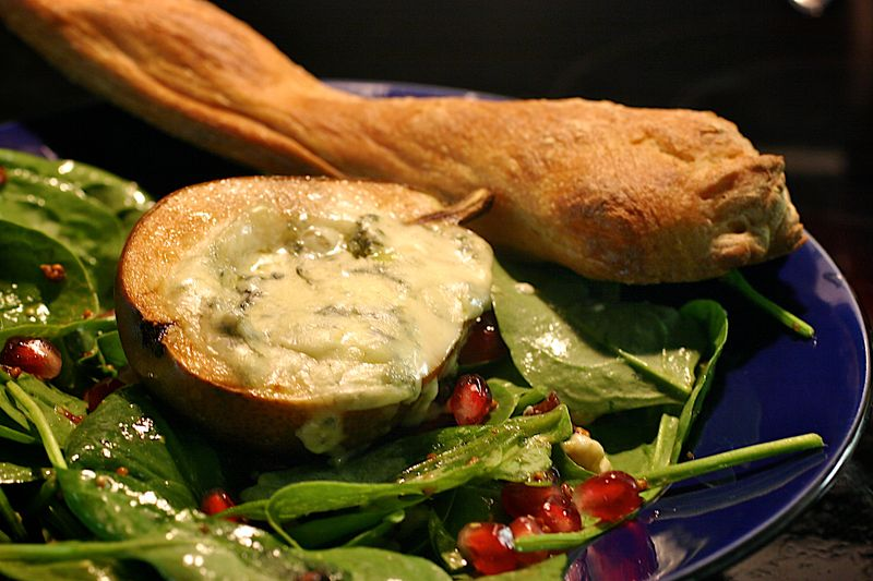 Roast Pear Salad with Blue Cheese
