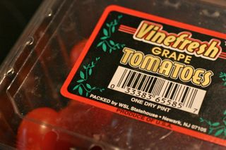 Tomatoes with a bar code