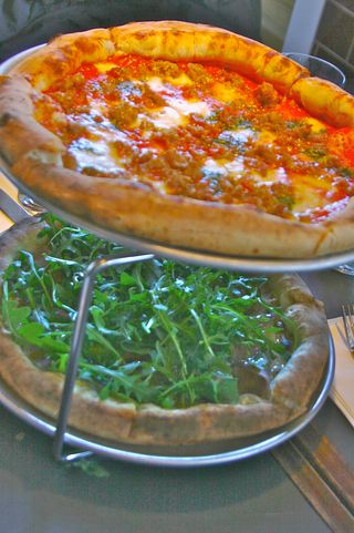 Arugula with some pizza