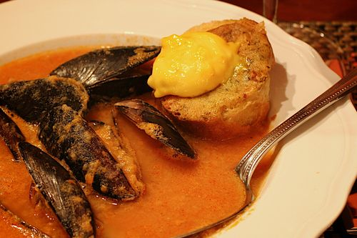 Mussel Soup with Lemon Saffron Aioli (1)