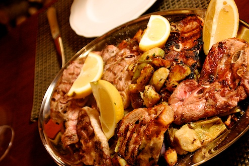 Grilled Lamb and Artichokes
