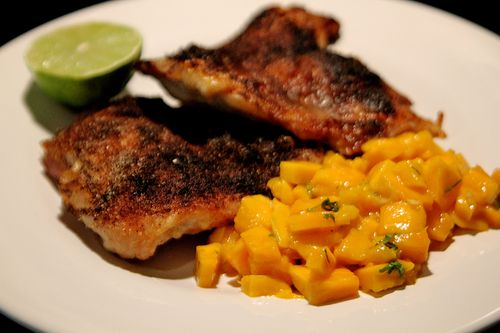 Crispy Chicken Leg with Mango Salsa