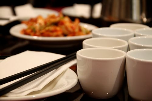 Tea cups and chopsticks