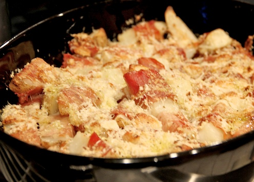 Crunchy Prosciutto Wrapped Potatoes in baking dish