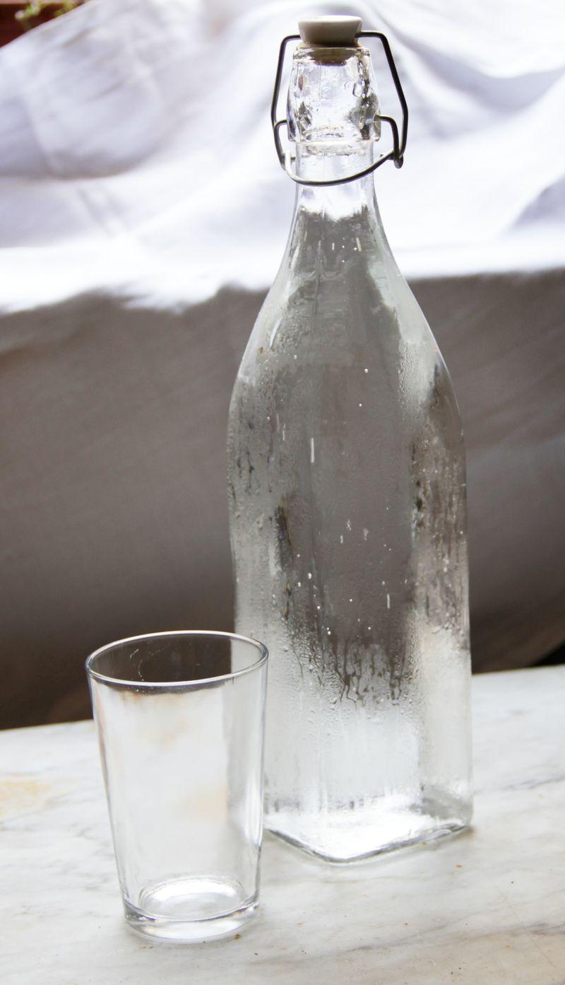 Water Bottle & Glass